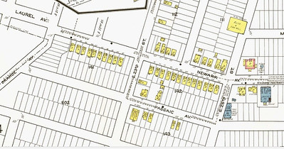 1922 Sanborn insurance map showing the New Orange Park development on Newark Ave.