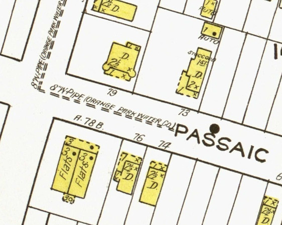 1923 Sanborn map of the Flats Building on Passaic Ave. and 23rd St. According to Dr. Walter Boright this building was built in 1898 by James Arthur and moved to this New Orange Park location in 1906. This dwelling which housed six families was the scene of the worst residential fire in the history of Kenilworth in 1927.  You can read more about it by clicking on this link. http://www.nj.com/cranford/index.ssf/2011/08/remembering_kenilworths_worst.html