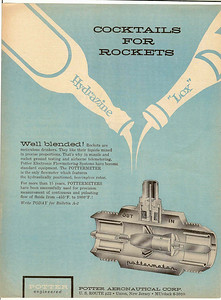 An ad from 1957 aviation magazine for a Pottermeter flow meter for rocket fuel invented and manufactured in Union. The Potter Aeronautical corp was located on Route 22 in Union. The company was founded by David Potter of the Potter family who was a descendent of the Potter family who first settled in Connecticut Farms in 1701.
