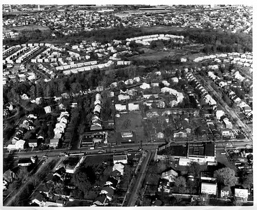 1963 aerial showing Morris ave (left to right), Colonial Ave, Townley Apartments, Armes Nursery etc.