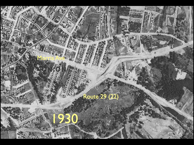 Aerial photo of the junction of Route 29 before it was Route 22 and Morris Ave in 1930.