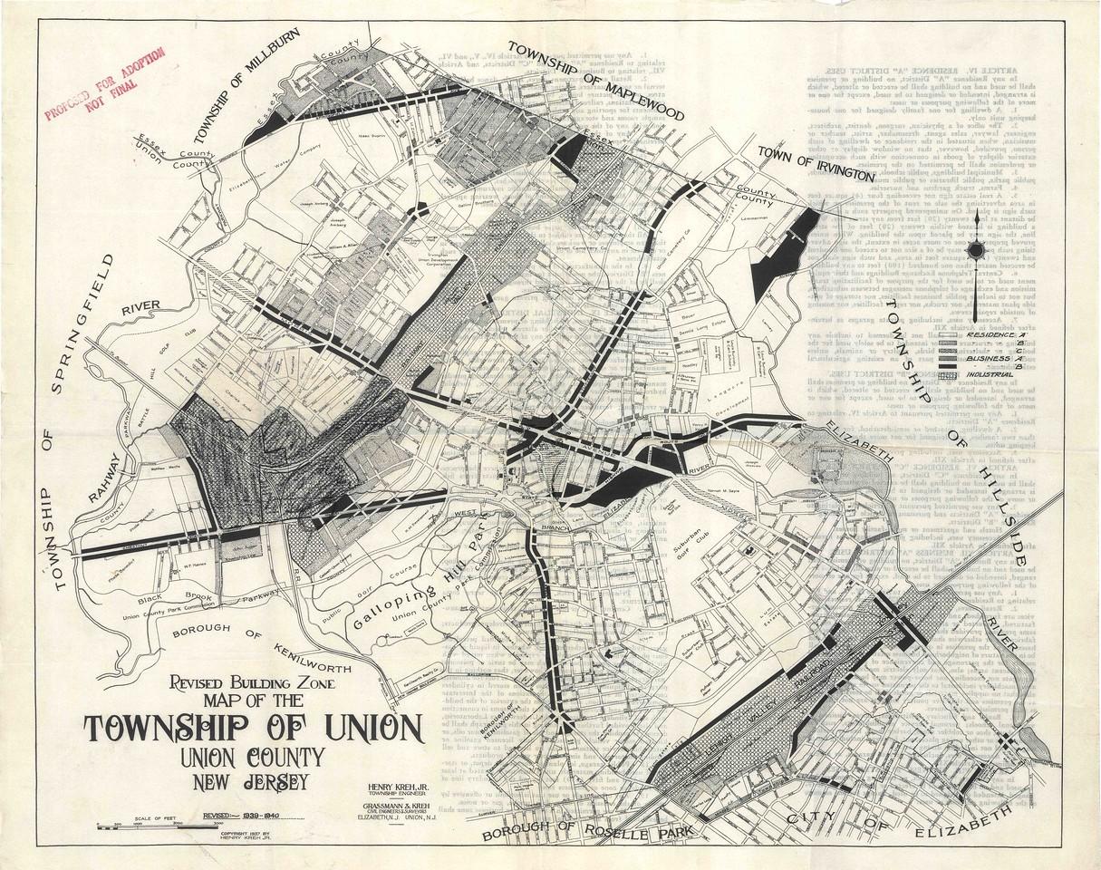 Proposed rezoning map 1939
