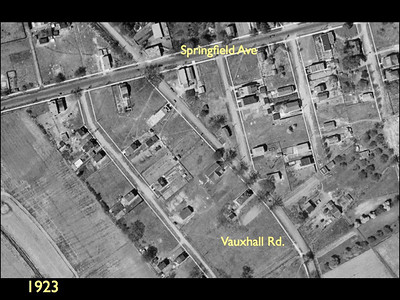 Aerial photo of an area of Vauxhall in 1923.