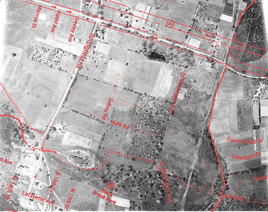 1923 aerial photo of Route 22 with an overlay of the current map.