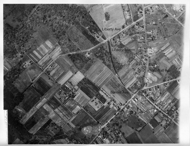 1923 Aerial featuring the intersection of Vauxhall Rd. and Burnet ave. At the intersection you can see the long building which now houses Luigi's Barber shop. The building that is now Liberty Tavern can be seen when zoomed in. Liberty Ave. was changed to accommodate Route 78. This file is high resolution and can be downloaded.