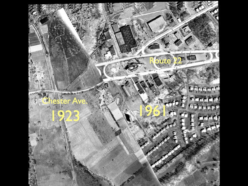 Composite aerial photo of Route 22 near the junction of West Chestnut St. At one time, West Chestnut St. was named Chester Ave. and continued as the road that is now Route 22 East.