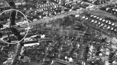 1955 Aerial of Union Center and surrounding area looking North. The main road oriented vertically is Stuyvesant Ave. The new Union library(1953) is visible but the Municipal building was just in the planning stages.  This high res image is downloadable.