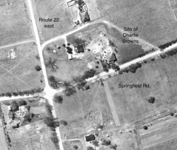 "Very rare 1923 aerial photo of what is now Route 22 East. The small farm house is the building that recently housed Charlie Brown's Steakhouse. The building was torn down to make way for a much needed retail store. This building was the last structure in this area that existed back in that period. Click the ""Map It"" button to see the current view."