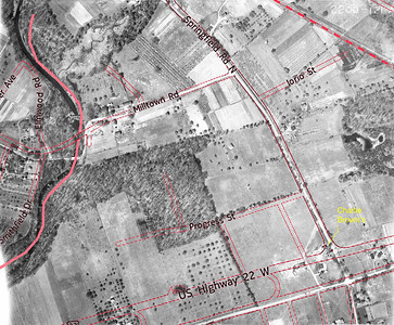 1923 aerial with overlay of Route 22, Springfield Rd. and Milltown Rd.