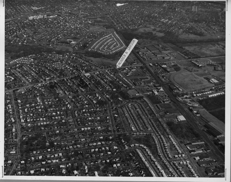 Later 60's high resolution aerial photo showing Morris Ave, Lehigh Ave., Colonial Ave. on the left, with parts of Hillside and Elizabeth in the distance. Download this photo to zoom in and see finer detail.