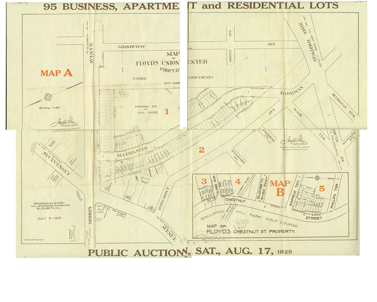 This map was part of an auction flyer from 1929 that was for the auction of Andress Floyd's estate.  The street development did not turn out as planned.