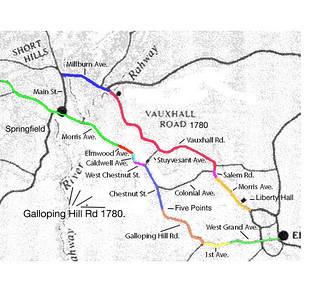 This map shows an approximation of the routes of Galloping Hill Road and Vauxhall Road. Galloping Hill Road and Vauxhall Road were the two main roads that the British and Hessian troops advanced and retreated on during the battles of Connecticut Farms and Springfield in 1780. In the past few years, several groups including scout troops have used this map to hike the route.