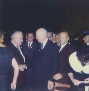 Mayor Biertuempfel greets President Eisenhower about 1964.