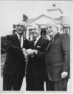 L-R, Koloman Kiss, Future Governor William Cahill, Mayor F. Edward Biertuempfel about 1968.