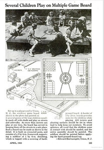 "Mayor Biertuempfel designed and built some custom game boards for the Union's parks. He had his idea published in Popular Mechanics Magazine. Tips included using ""white lead"" to seal out moisture."