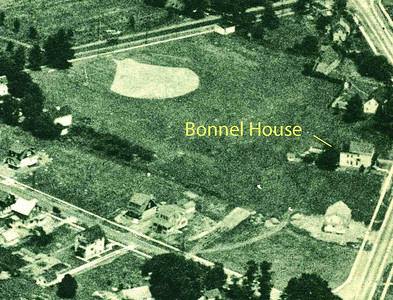 "Aerial shot of the South West corner of Union Center from 1923. Morris Ave is at the top of the photo. On the 1916 Tax map, the house was actually listed as belonging to J. B. ""Bunnell"" on a small property cut out of Joseph R. ""Bonnel's"" property. We don't know that the relationship might be."