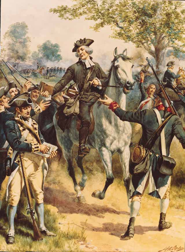"""This painting in which the Reverend James Caldwell is depicted at the Battle of Springfield on his horse is thought to be more accurate. When the soldiers ran out of wadding for their guns the minister galloped to The Parsonage of the First Presbyterian  of Springfield and grabbed some Isaac Watts' Hymnals so the rebels could rip out the pages and use them in their guns.   There are varying accounts of what took place that day.  From Thomas Fleming's book """"Forgotten Victory""""- Suddenly from one end of the American line to the other the cry went up, """"Wadding. More wadding."""" Regular soldiers knew that the paper around the cartridge was not enough to steady the musket ball in the barrel and give the crude gun decent aim. Extra paper had to be crammed down the barrel to assure a reasonably accurate shot.  A frantic messenger was sent racing to the rear. On the road he met James Caldwell, who was riding up and down the battlefield, urging the New Jersey men to stand fast. """"I'll get you some wadding"""", he snapped, putting spurs to his horse.   In minutes he was back looming through the smoke. He had galloped to the attic of the Presbyterian church parsonage and collected every hymn book he could carry. Caldwell then flung the books to the black-faced Continentals. """"Give 'em Watts, boys."""" he roared and thundered back to the parsonage for another load.  This account was taken from Washington Irving's """"Life of George Washington"""" written in 1857 and believed to be the most accurate:   """"The image of his murdered wife was before his eyes. Finding the men in want of wadding, he galloped to the Presbyterian church and brought thence a quantity of Watts' psalm and hymn books, which he distributed for the purpose among the soldiers. """"Now"""" cried he, """"put Watts' into them boys!"""" """"  Another account has the reverend saying """"""""Put Watts in them, Boys. Give them Watts!"""" as he distributed the hymn books."""""""