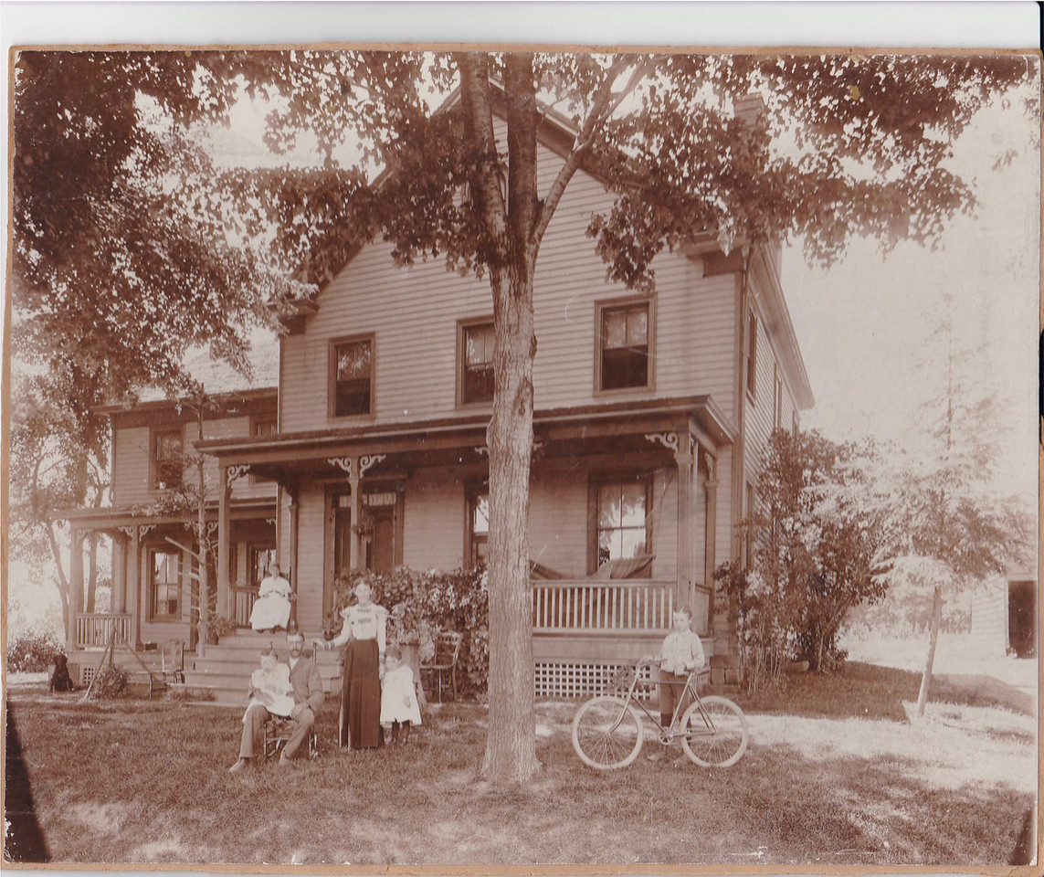 The Harry Abram Miller family farm on Burnet Ave. near Vauxhall Rd in 1888. The boy is sporting his very fine Victor Flyer Bicycle.