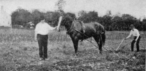"""John R. Bonnel- """"A man out standing in his field"""" with his son around 1915. The house in the background was on Stuyvesant Ave. near the end of Rosememont ave. Bonnel Court now cuts through the site."""