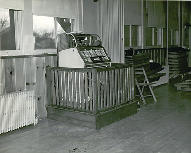 """This juke box looks like it's on the witness stand at """"Huckles Hangout"""" in the Union Recreation Center on Stuyvesant Ave next to Connecticut Farms School. The building was built about 1906 and was the Connecticut Farms School until about 1938. It was torn down to build condos in the 1980's."""