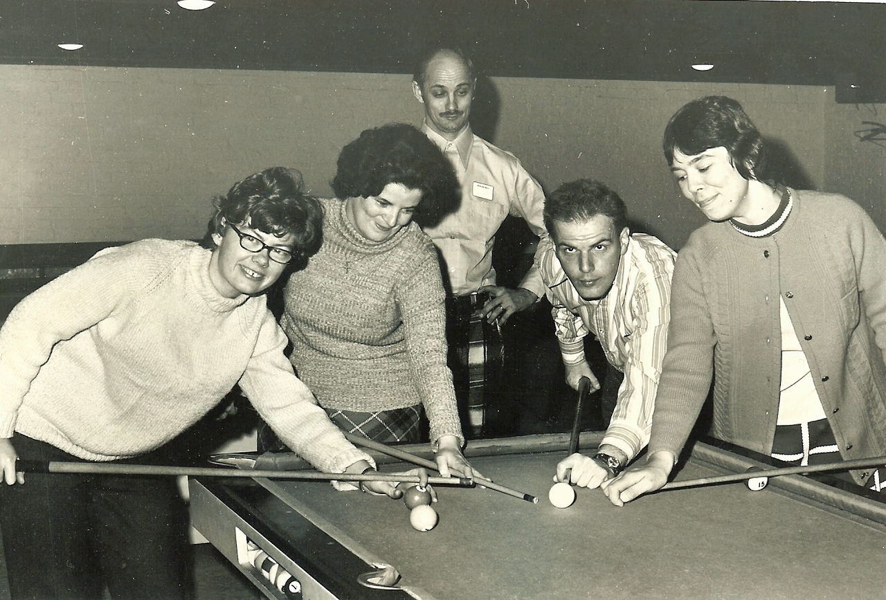 This group was referred to as the Sparklers in 1973. Can you spot the real pool shark in this crowd?