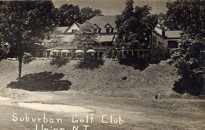 Post card of Suburban Golf Club from the rear.