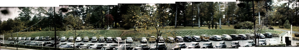 Composite panoramic photo of Friberger Park from Morris Ave. taken from a 1948 film about Union. This was taken before the Library was built in 1953 and the Municipal Building in 1957.