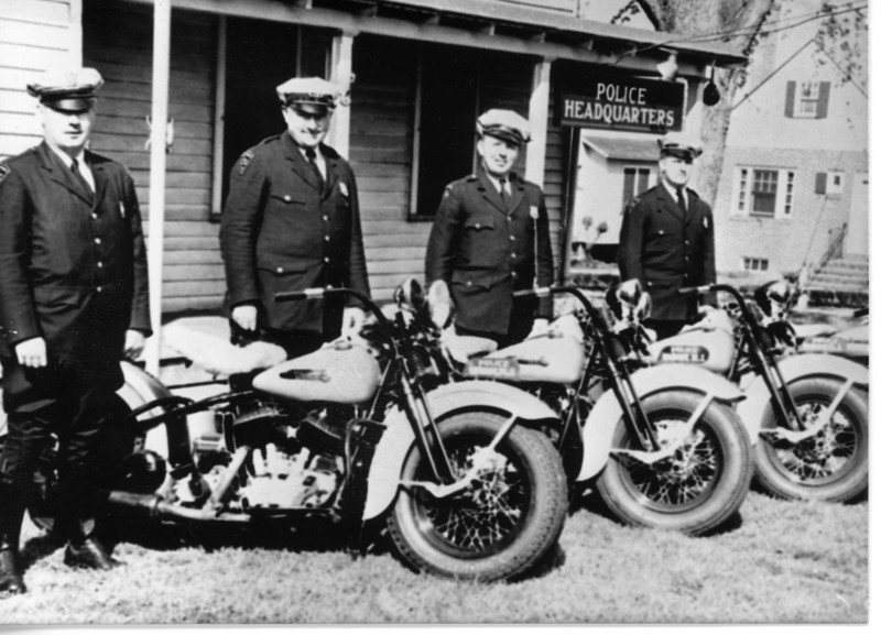"1930's Policemen in front of the Police Station on Stuyvesant ave. Click on the ""Map This"" button to see the location."
