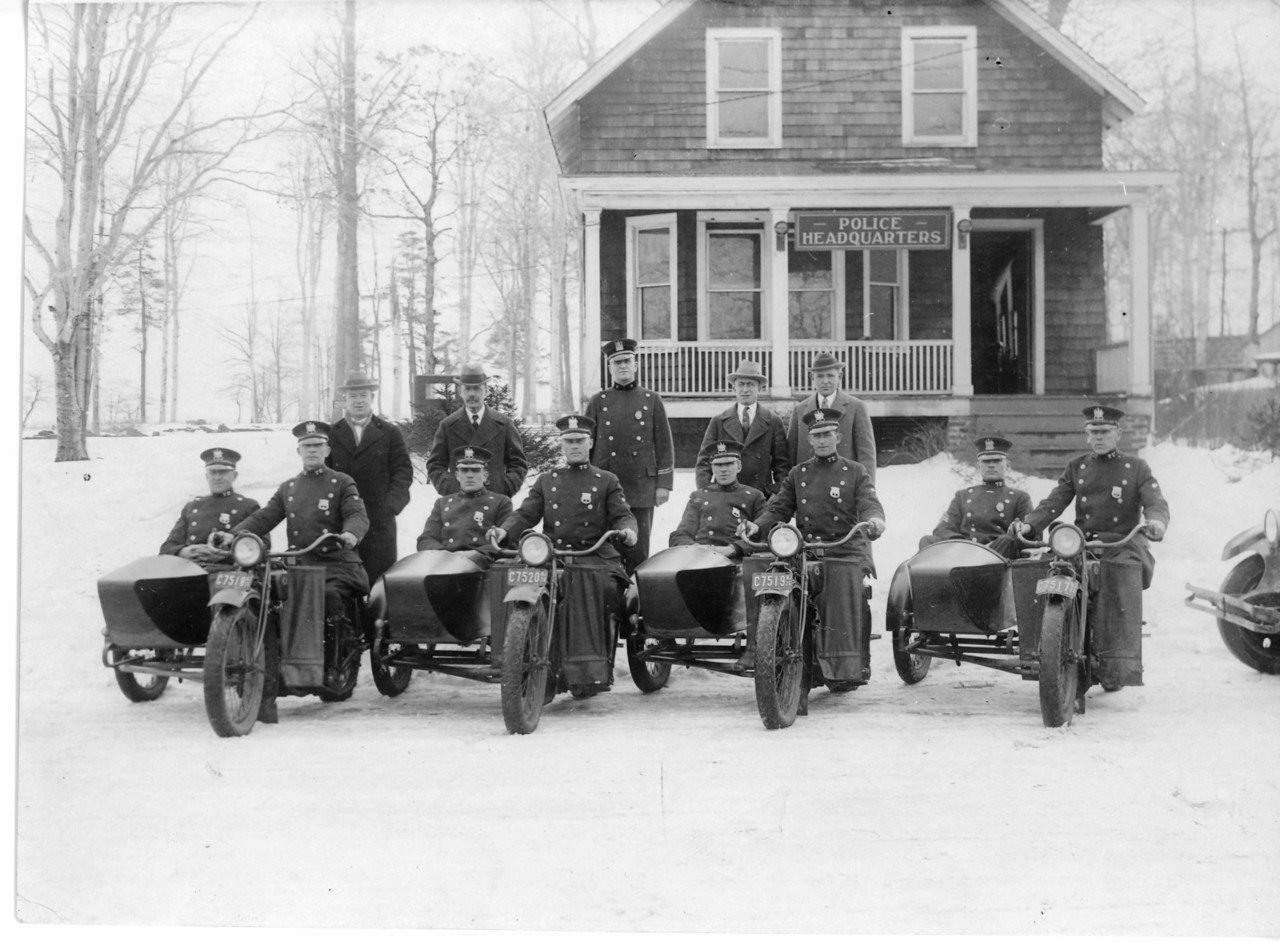 Police force in the 1930's in front of Police Headquarters on Stuyvesant Ave. Present site of the Union library in the background.