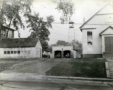 Early Fire Station with fire tower on the current site of Connecticut Farms School.