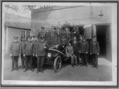 1915 Fire department in front of the first fire headquarters at the current site of Connecticut Farms School.
