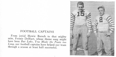 """Football Captains Howie Bursch and Fermie DeHart of the 1942 UHS football team taken from the 1942 """"Booster"""" Yearbook."""