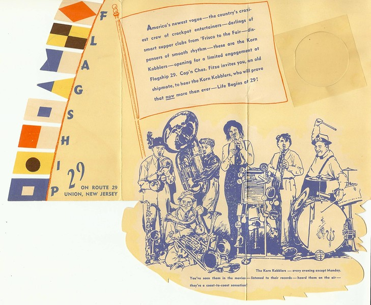 Fancy promotional foldout featuring  a comedy troup/band called the Korn Kobblers who got their start at the 1940 world's fair and then went on to become a regular act at the Flagship. Initially discovered by Guy Lombardo their 1940's versions of music videos can be found on Youtube. http://www.youtube.com/watch?v=LzQmKhB1YNU http://www.hezzie.com/kk/kornkobblerslisteningroom.html