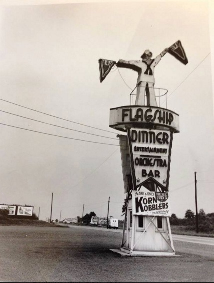 The Flagship Sign sometime between 1939 and 1942 when the Korn Kobblers were the house band. Nice view of the old Route 29 which was later renamed route 22.