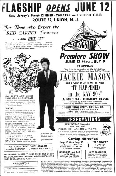 A poster featuring an appearance by Jackie mason in 1968.