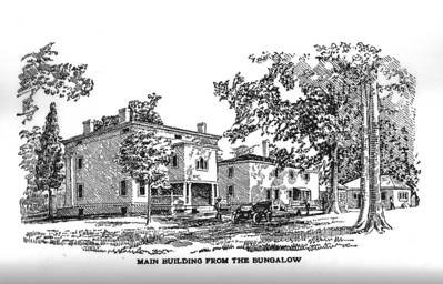 "A rare discovery of a drawing of  the rear of the Hoyt Mansion that was in the current site of Friberger Park. This drawing is from the 1913 book titled ""My Monks of Vagabondia"" by Andress Floyd which is still available in reprint. The artist did us a big favor by stating that the view was from the Bungalow."