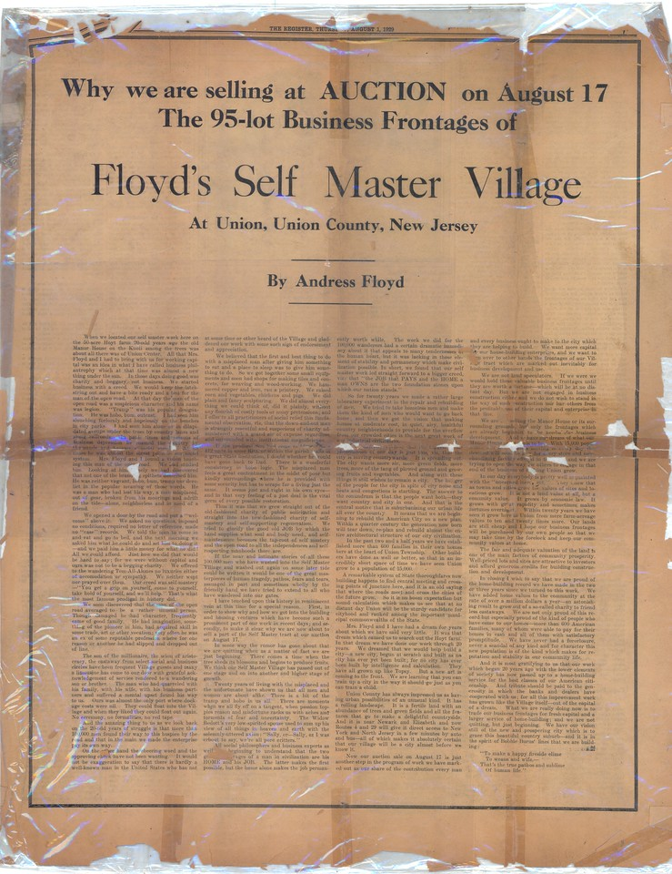 Newspaper article on the auction of the assets of Andress Floyd.