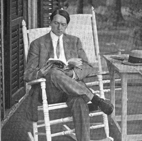 Andress Floyd, founder of The Self Master Colony on the porch of the Hoyt Mansion which was where Friberger Park is today.