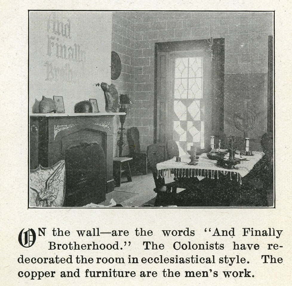 The dining room of the Hoyt Masion, the main house of the Self Master Colony.
