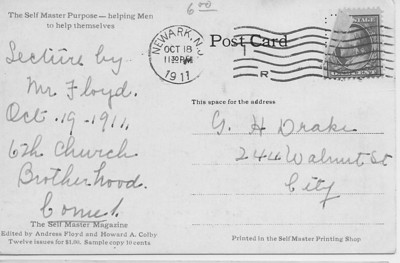A post card inviting G. H. Drake to a lecture by Mr. Floyd on 10/19/1911.