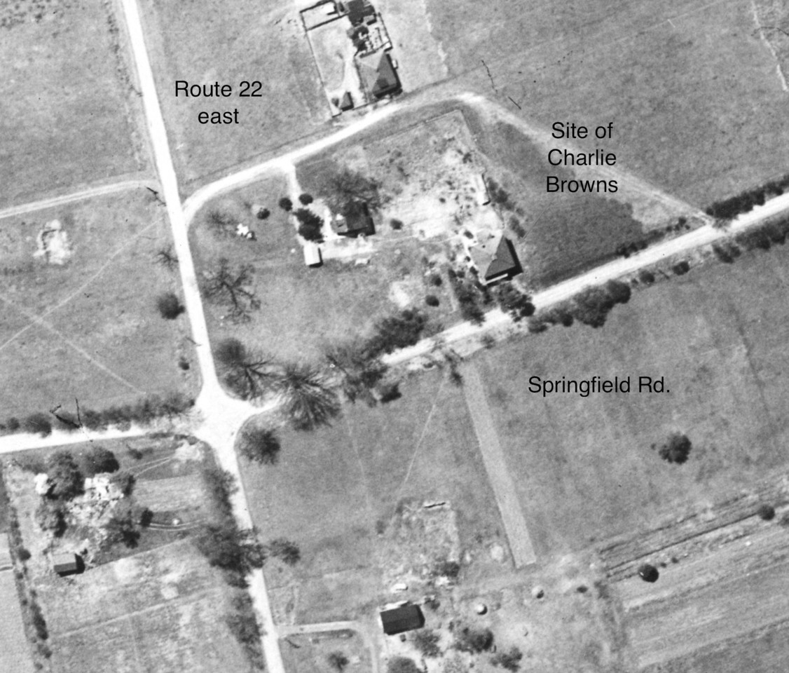 "Very rare 1923 aerial photo of what is now Route 22 East. The small farm house is the building that recently housed Charlie Brown's Steakhouse. The building will soon be torn down to make way for a much needed retail store. This building is the very last structure that still exists in this area that existed back in that period.<br /> Click the ""Map It"" button to see the current view."