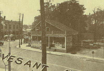Side view of the Old Meeker Inn building in 1929. The photo shows the side of the building facing Stuyvesant ave. looking west on Morris ave. This important photo from the Self Master Colony auction flyer solves a mystery regarding the exact location of the building. The porch and deck  were added at some point.