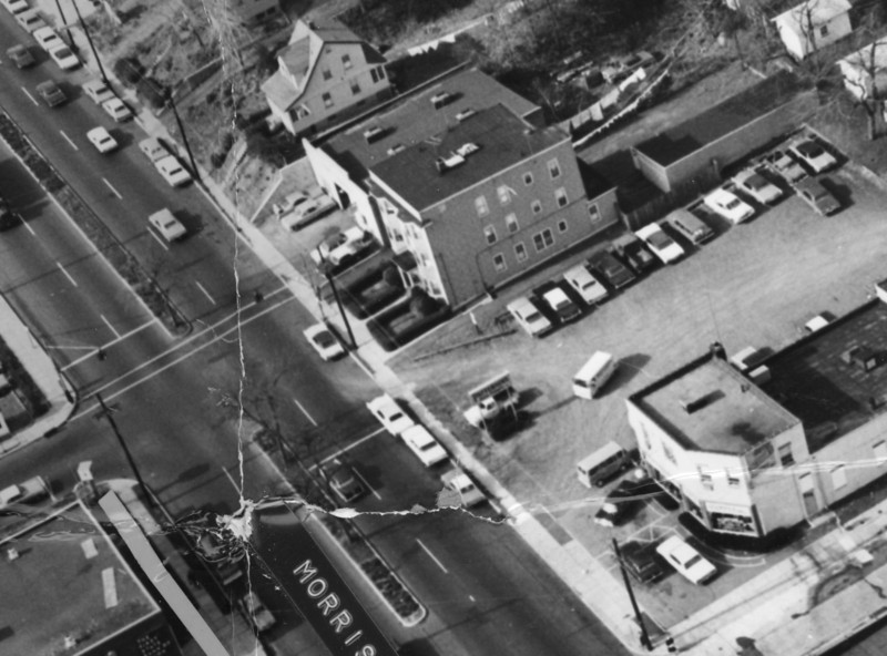 Aerial photo of Morris Ave at the end of Burke Parkway. The building that was Price's store is shown directly opposite the end of Burke Parkway.