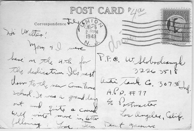 war memorial post card text
