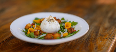 Butternut Squash and Burrata Salad, Cornbread Croutons, Baby Peppers, Pickled Onion, Pumpkin Seeds, Satsuma Vinaigrette