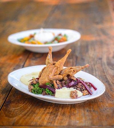 Southern Fried Quail, Red Quinoa, White Sweet Potato Puree, Candied Pecans, Kale, Pickled Beet