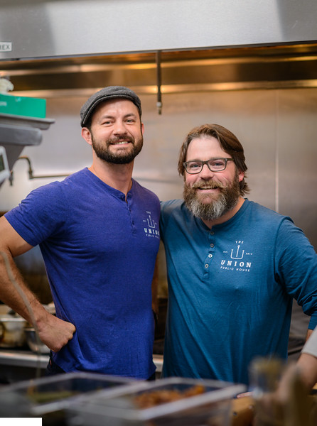 Union Public House co-owners Chef Blake Rushing and Patrick Bolster in their kitchen
