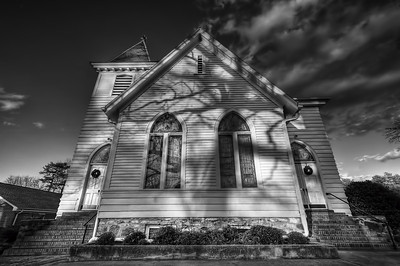 Banks Presbyterian Church, Marvin NC  (HDR b&w)