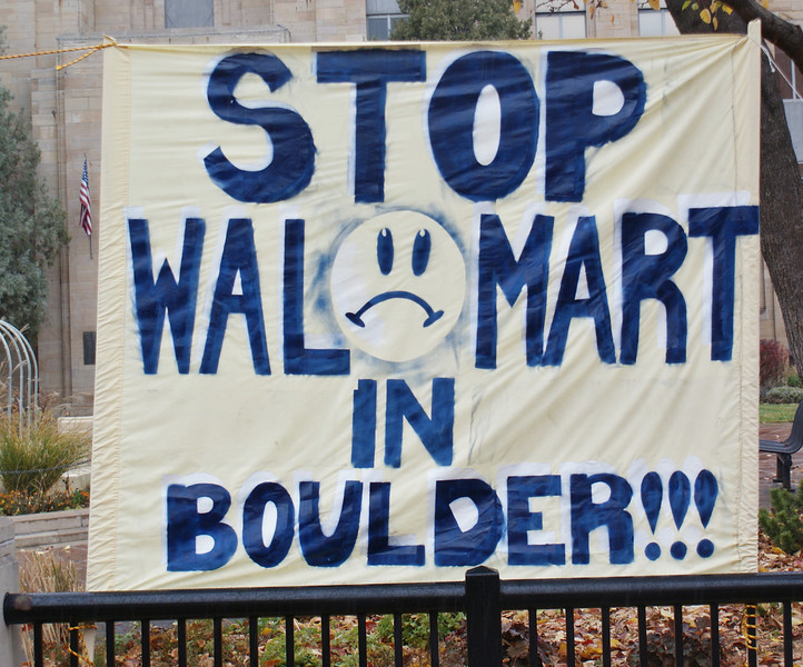 Protesters demonstrate against proposed Walmart in Boulder, Colorado. (11/10/12)