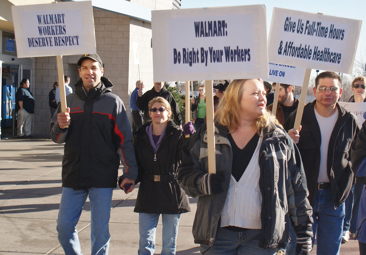 """WalMart workers and supporters picket for better wages and benefits outside a Walmart in Lakewood, Co on """"Black Friday"""". (11/23/12)"""
